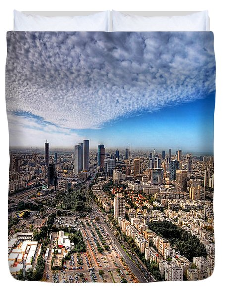 Tel Aviv Skyline Duvet Cover by Ron Shoshani