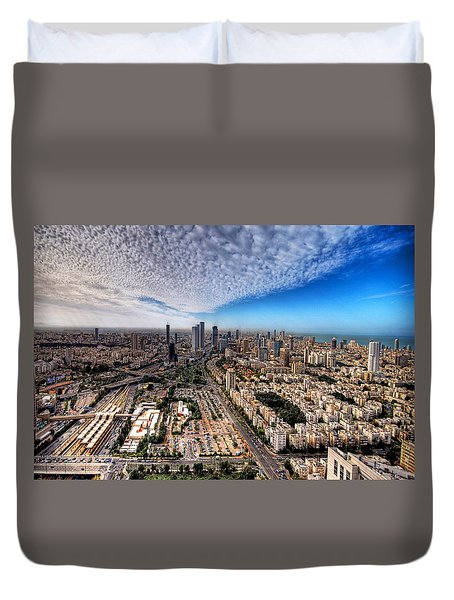 Tel Aviv Skyline Duvet Cover by Ron Shoshani