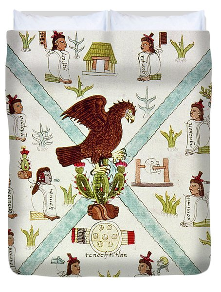 Tenochtitlan (mexico City) With Aztec Duvet Cover