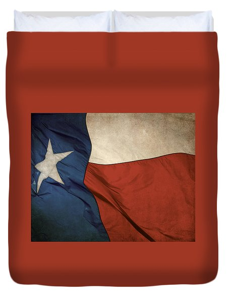 Rustic Texas Flag  Duvet Cover by David and Carol Kelly