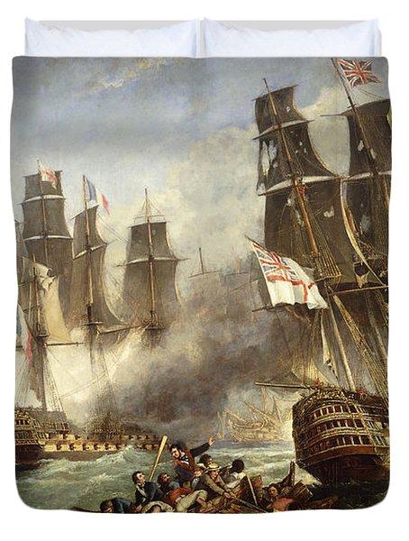 The Battle Of Trafalgar Duvet Cover by English School
