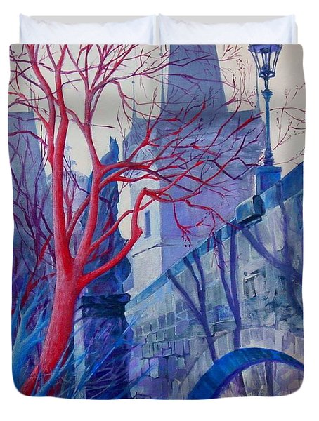 Duvet Cover featuring the painting The Charles Bridge Blues by Marina Gnetetsky