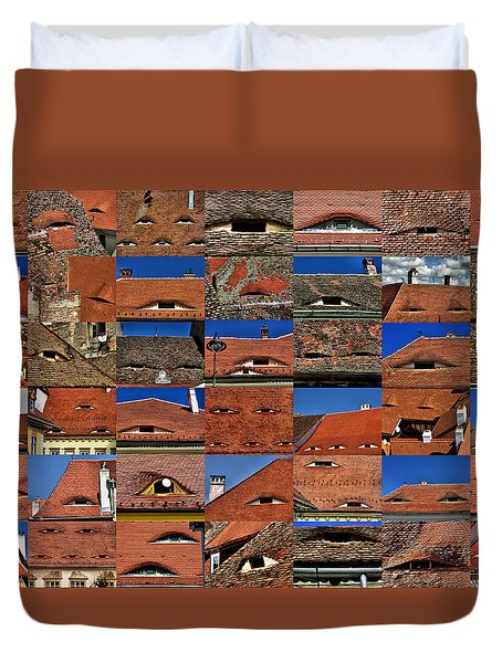The City's Eyes Sibiu Hermannstadt Romania Duvet Cover