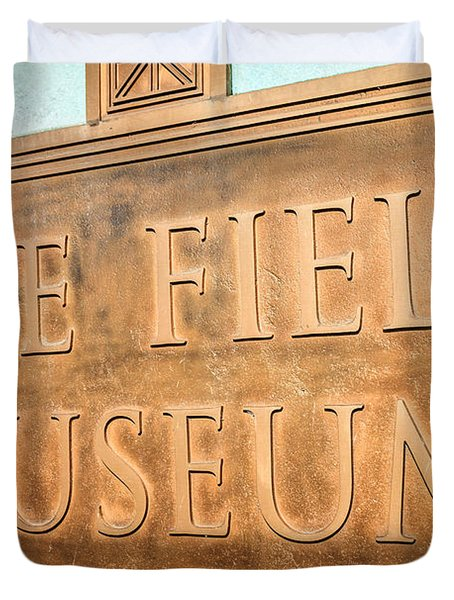 The Field Museum Sign In Chicago Illinois Duvet Cover by Paul Velgos