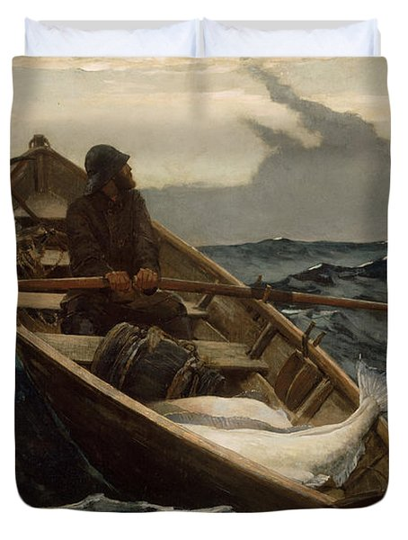 Duvet Cover featuring the photograph The Fog Warning by Winslow Homer