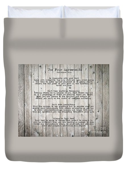 The Four Agreements Duvet Cover by Andrea Anderegg