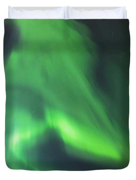 The Green Northern Lights Corona Duvet Cover by Kevin Smith