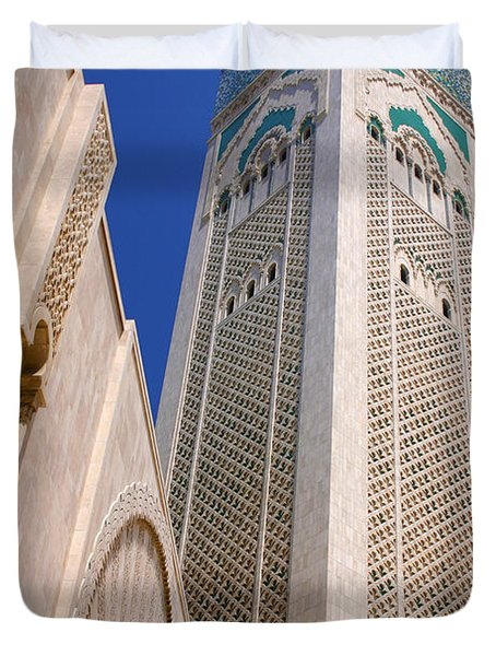 Duvet Cover featuring the photograph The Hassan II Mosque Grand Mosque With The Worlds Tallest 210m Minaret Sour Jdid Casablanca Morocco by Ralph A  Ledergerber-Photography