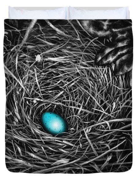 Duvet Cover featuring the painting The Robin's Egg by Craig T Burgwardt