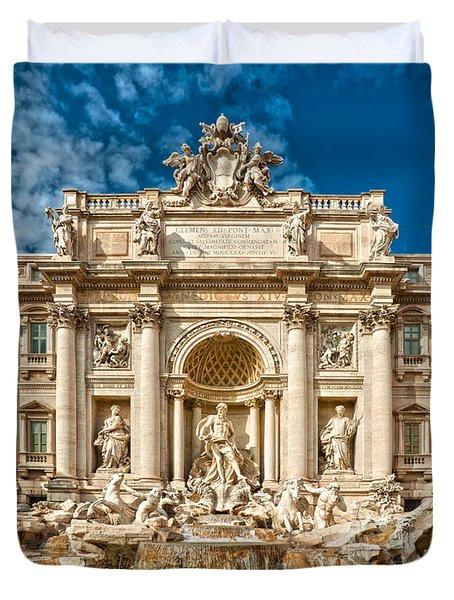 The Trevi Fountain - Rome Duvet Cover