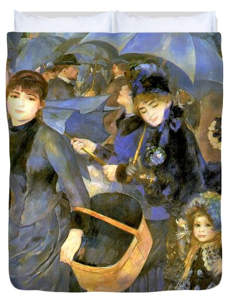 The Umbrellas Duvet Cover by Pierre Auguste Renoir