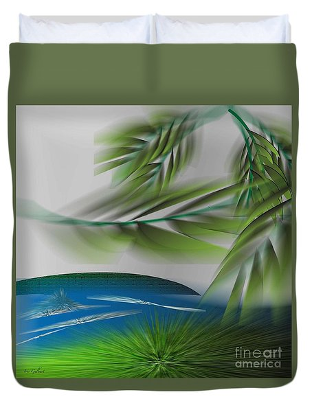 Duvet Cover featuring the digital art The Wind She Blows by Iris Gelbart