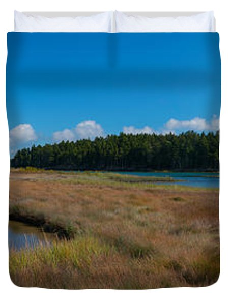 Thompson Island In Maine Panorama Duvet Cover