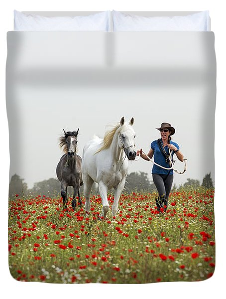 Three At The Poppies' Field... 3 Duvet Cover