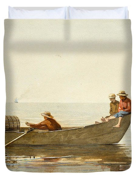 Three Boys In A Dory With Lobster Pots Duvet Cover by Winslow Homer