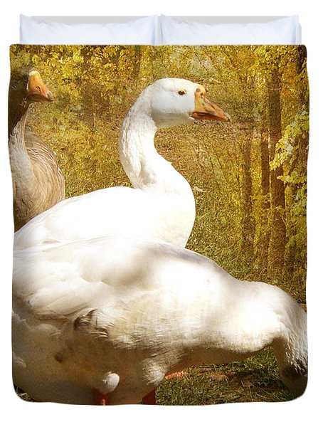 Three Geese A Grazing Duvet Cover