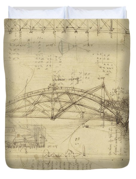 Three Kinds Of Movable Bridge Duvet Cover by Leonardo Da Vinci
