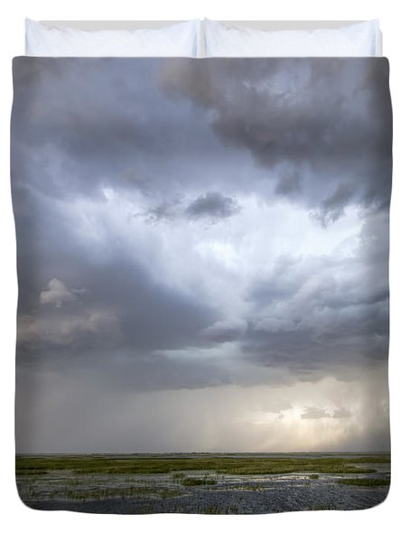 Duvet Cover featuring the photograph Thunderstorm Over Cheyenne Bottoms by Rob Graham