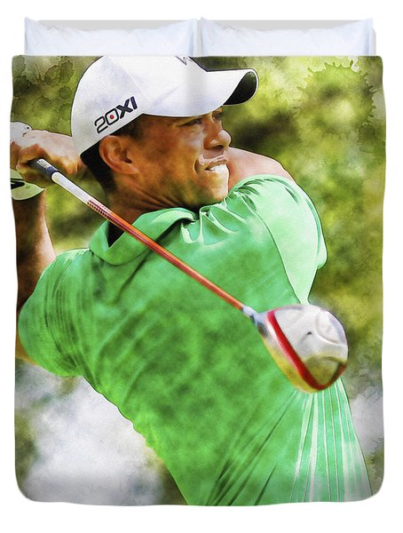 Tiger Woods Hits A Drive  Duvet Cover
