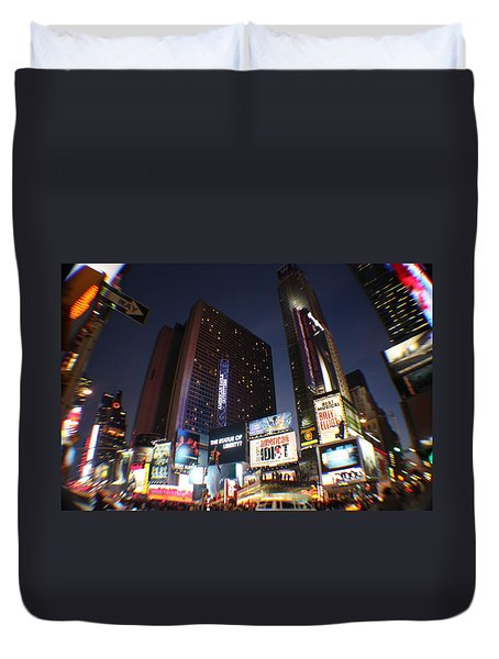 Times Square Nyc Duvet Cover by Rogerio Mariani