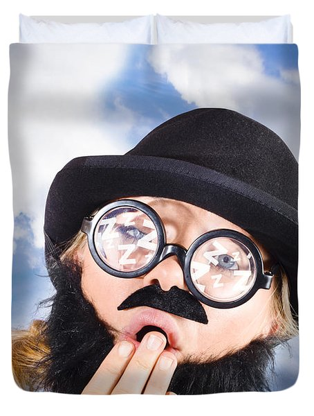 Tired Man With Day Sleeping With Insomnia Duvet Cover