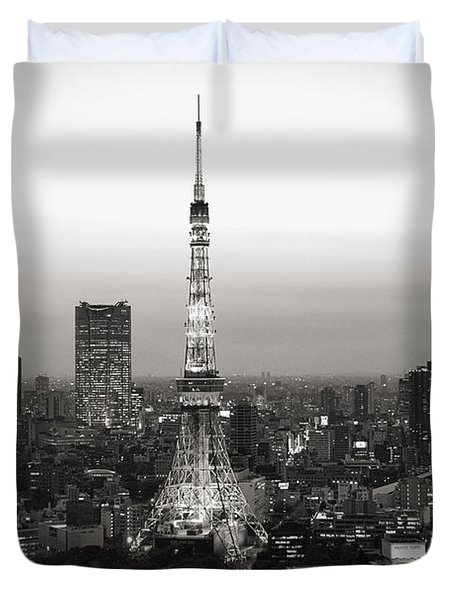 Tokyo Tower At Night Duvet Cover