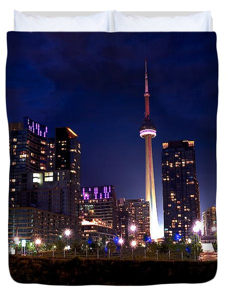 Toronto By Night Duvet Cover