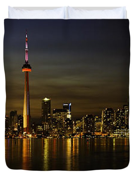 Toronto Evening Sky Line Panorama Duvet Cover