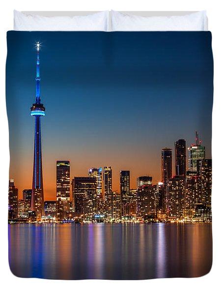 Toronto Skyline At Dusk Duvet Cover