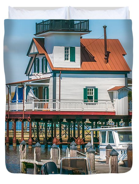 Town Of Edenton Roanoke River Lighthouse In Nc Duvet Cover