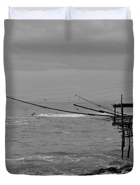 Trabocco On The Coast Of Italy  Duvet Cover