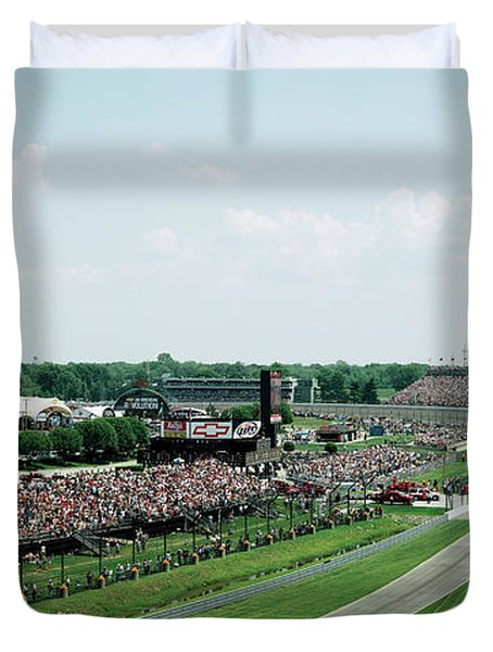 Track And Crowds, Indianapolis 500 Duvet Cover