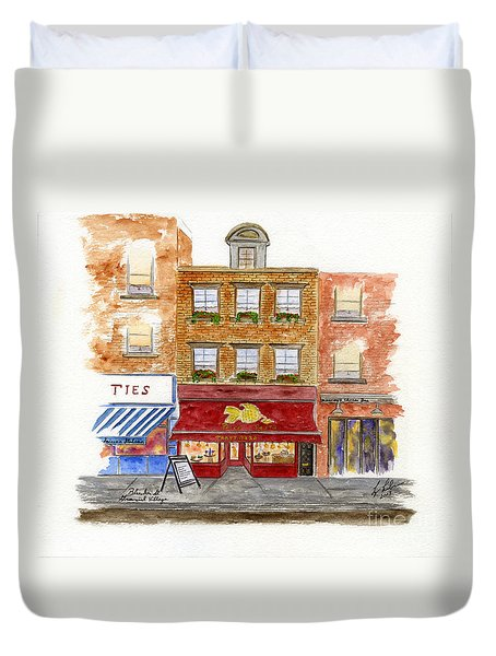 Trattoria Pesce Pasta Duvet Cover by AFineLyne