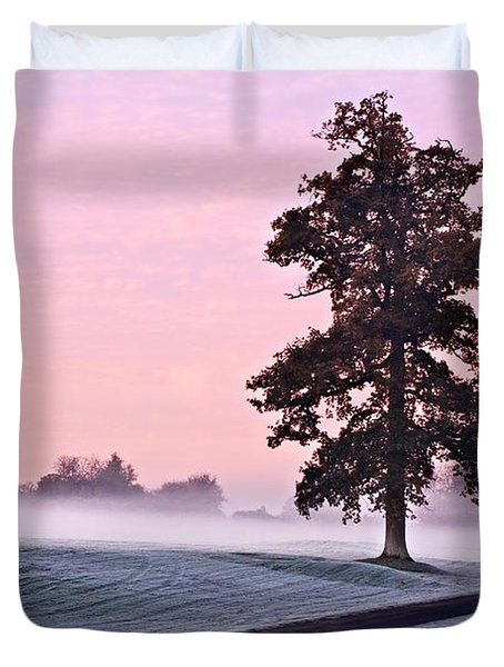 Duvet Cover featuring the photograph Tree At Dawn / Maynooth by Barry O Carroll