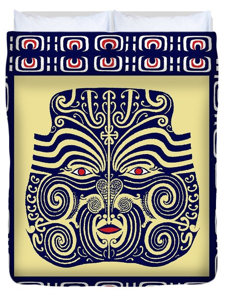Duvet Cover featuring the digital art Marquesas Tribal Spirits by Vagabond Folk Art - Virginia Vivier