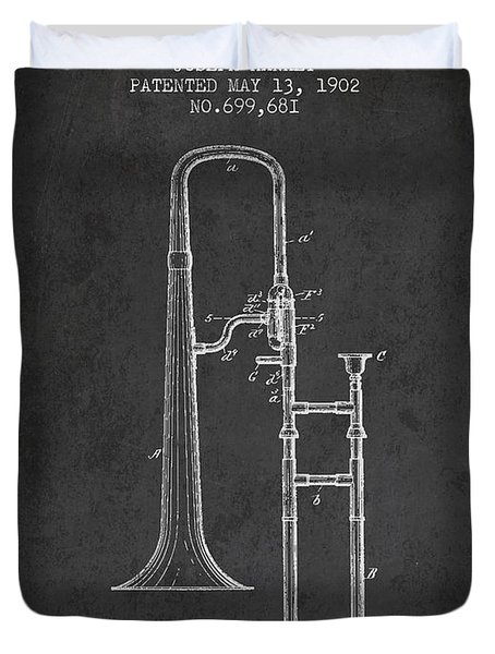 Trombone Patent From 1902 - Dark Duvet Cover by Aged Pixel