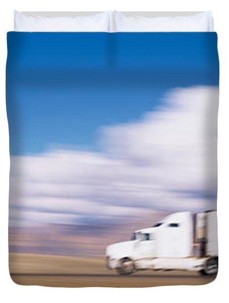 Truck On The Road, Interstate 70, Green Duvet Cover