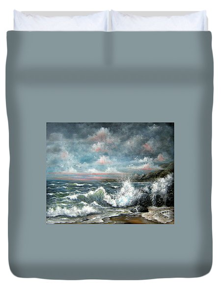Duvet Cover featuring the painting Turning Tide by Patrice Torrillo