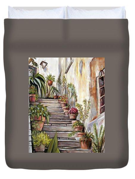 Tuscan Steps Duvet Cover by Melinda Saminski