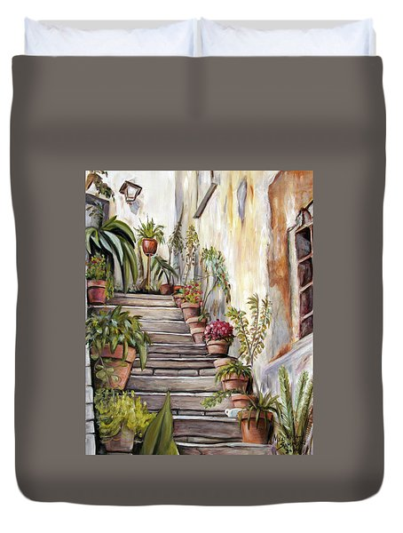 Duvet Cover featuring the painting Tuscan Steps by Melinda Saminski