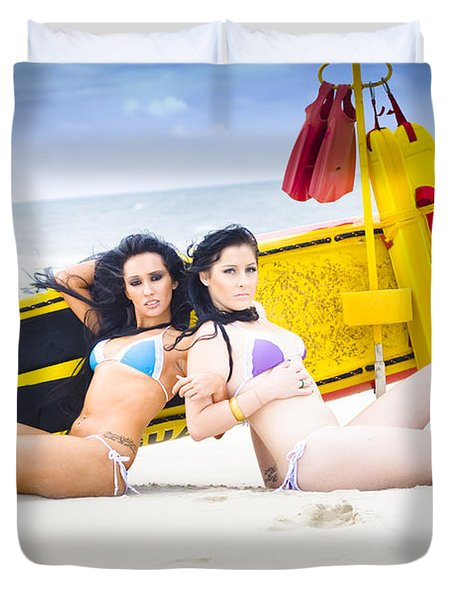 Two Beautiful Women Together On Beach Duvet Cover