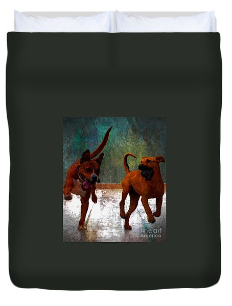 Duvet Cover featuring the photograph Two Dogs by John  Kolenberg