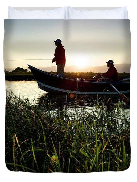 Two Men Fish The Teton River Duvet Cover