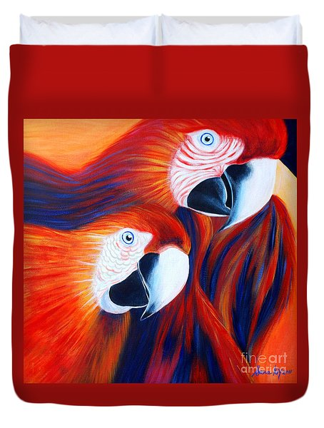 Duvet Cover featuring the painting Two Parrots. Inspirations Collection. by Oksana Semenchenko