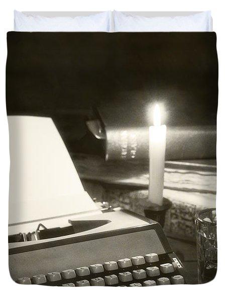 Typewriter By Candlelight Duvet Cover by Amanda Elwell