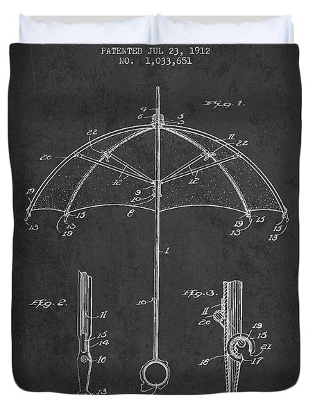 Umbrella Patent Drawing From 1912 Duvet Cover by Aged Pixel