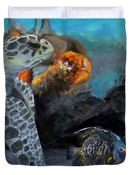 Duvet Cover featuring the painting Underwater Beauty by Donna Tuten