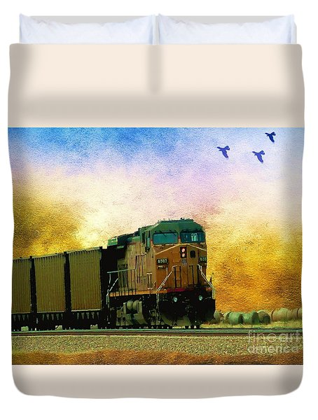 Duvet Cover featuring the photograph Union Pacific Coal Train by Janette Boyd