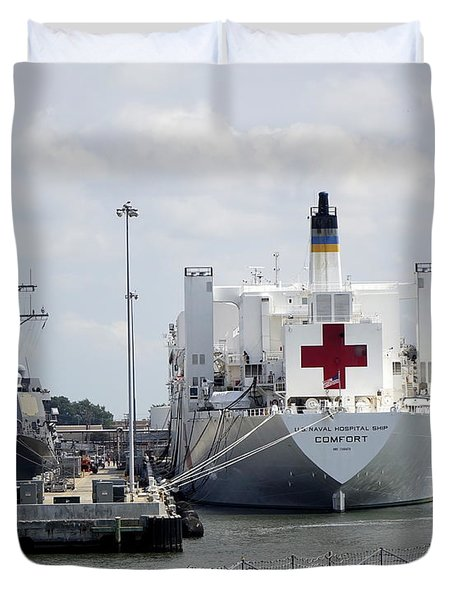 Us Naval Hospital Ship Comfort Duvet Cover