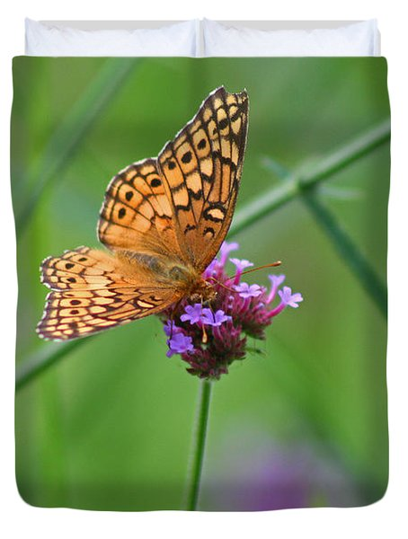 Variegated Fritillary Butterfly In Field Duvet Cover